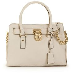 Michael Michael Kors Handbag, Hamilton Gold Hardware East West Satchel ($298) ❤ liked on Polyvore