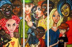 The Melting Pot by Cherie Roe Dirksen Original Art, Original Paintings, South African Artists, Melting Pot, Triptych, Art Portfolio, Tree Of Life, Lovers Art, All Art