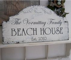 FAMILY BEACH HOUSE Shabby Cottage Cabin Lake by thebackporchshoppe, $64.95