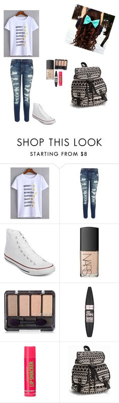 """school: cool Tuesday"" by cassie-marie-1299 ❤ liked on Polyvore featuring Current/Elliott, Converse, NARS Cosmetics, Maybelline and NLY Accessories"