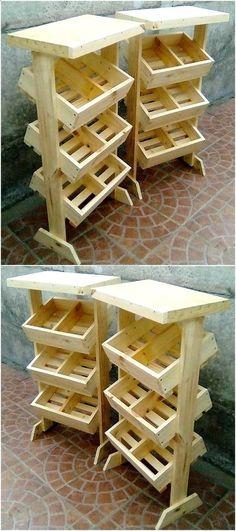 petit magasin à faire avec des caisses en bois à légumes