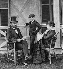 President Grant with his wife, Julia, and son, Jesse, in 1872.