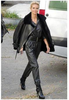 Heidi Clum in a black leather jumpsuit