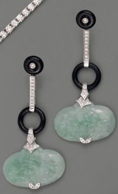 Jade, Onyx, & Diamond Earrings
