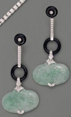 Jade, onyx and diamond earrings