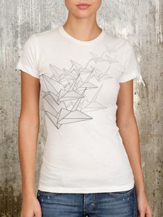 Japanese Origami Birds - Women's Screen Printed Graphic T-shirt - Size S, M, L, XL. $22.50, via Etsy.