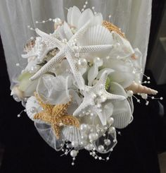 sea shell bouquet sea shell brides bouquet by UptownGirlzz on Etsy, $119.50