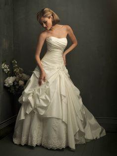 Rich Taffeta Strapless Ball Gown Sleeveless Wedding Dress With Chapel Train