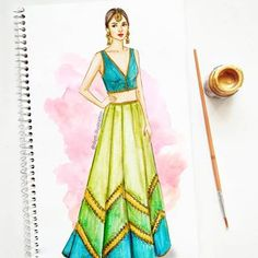 Bright and vibrant wedding look to flaunt at your bffs mehendi 💙💚 Illustrated on beautiful @aditiraohydari  #fashionillustration #weddingfashion #mehendioutfit #indianwedding #bff #bridetobe #celebration