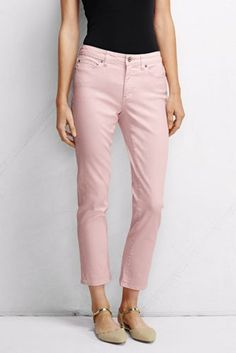 Women's Mid Rise Slim Leg Cropped Jeans - Crystal Pink from Lands' End