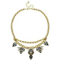 Mood Double row multi stone teardrop necklace