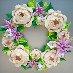 Cream Rose and Lavender Clematis Origami Wreath, Mother's Day Wreath, Spring Wreath, Easter Wreath Mothers Day Wreath, Valentine Day Wreaths, Easter Wreaths, Holiday Wreaths, Origami Wreath, Origami Paper Art, Origami Decoration, Paper Craft, Yellow Roses