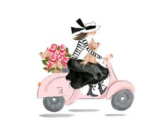 Items similar to Fashion Illustration - Fashion Decor - Vespa -Fashion Art - Chic Decor - Fashion Print - Dog Lover Gift - Custom Illustration - Travel Print on Etsy Christmas Drawing, Christmas Art, Pink Vespa, Vespa Girl, Vespa Illustration, Illustration Fashion, Dibujos Pin Up, Mickey Mouse Images, Dog Calendar
