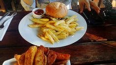 Beef burger and wedges