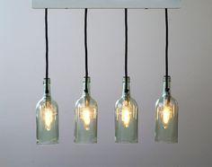 """Hängelampen - Vintage Flaschenlampe, Hängelampe """"cuatro"""" - ein Designerstück von Uniikat-Shop bei DaWanda"""