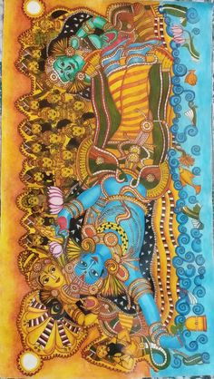 Mysore Painting, Kerala Mural Painting, Kalamkari Painting, Tanjore Painting, Krishna Painting, Art Forms Of India, India Art, Black Canvas Paintings, Indian Art Paintings