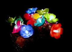 Flowers in the night- polymer clay handmade lights