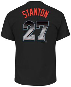 Majestic Men's Giancarlo Stanton Miami Marlins Carbon Fiber Player T-Shirt