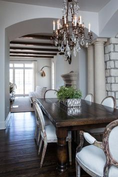 Dark Wood Dining Room Table Dark Wood Dining Table with Gray French Dining Chairs Dark Wood Dining Table, French Dining Chairs, Antique Dining Tables, Dinning Room Tables, Dining Room Design, Dark Table, Room Chairs, Dining Rooms, Lounge Chairs