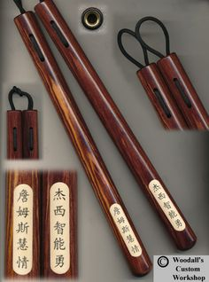 "Cocobolo 12"" Round Tapered 1"" - 1 1/8"" Baseball Bat with Kanji added and Airport Loop Connection Nunchaku.. customworkshop.biz"