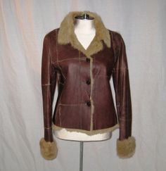 1970s Brown Leather Jacket Fur Lined Collar and by Bethlesvintage, $80.00