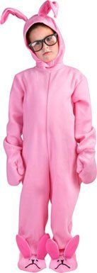 A Christmas Story Kid Pink Bunny Suit by Rasta Imposta. $29.99. This A Christmas Story Pink Bunny Suit offers the twice the warm humor of the famous holiday movie classic! Empathize with Ralphie from A Christmas Story by dressing your kid up in the iconic pink bunny costume that fits children sizes 7 - 10. Mittens, headpiece, glasses, shoe covers, and the essential one-piece body are all included. Go all out this holiday season and deck the halls with this awesome Kid Christmas ...