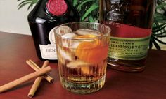 Dark Mark - Dissolve 1 cup sugar in 1 cup water over heat. Steep 2 cinnamon sticks in syrup for 15 minutes, Remove cinnamon sticks. Store syrup in refrigerator for 3 weeks. - Into a mixing glass half-full of ice add 2 1/2 oz. rye whiskey, 1/4 oz. Benedictine, 1/4 oz. cinnamon syrup, 2 dashes of Angostura Bitters and stir. Garnish with an orange twist.