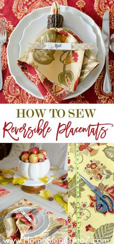 This easy placemat tutorial shows step-by-step how to sew reversible placemats. Great for holiday table or as a special DIY gift!  Sponsored fabric by Waverly.