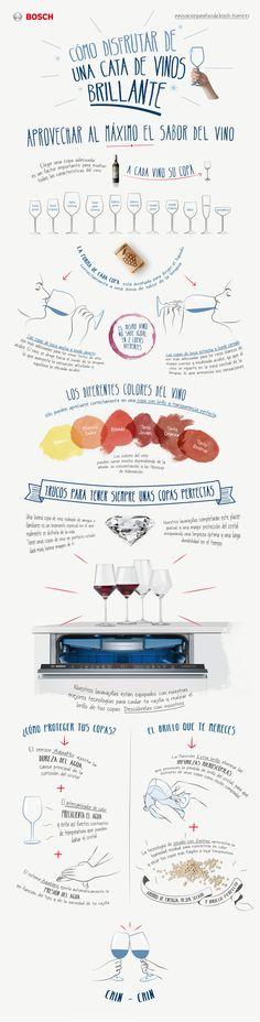 Cómo Disfrutar de una Cata de Vinos Brillante #infografía