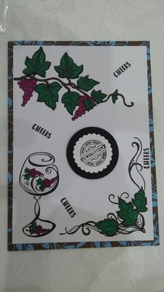 mens stamped decoupage wine ivy grapes birthday card sheena douglas christmas ivy, Hunkydory It's Wine O'clock and Honey Doo A Bottle of Vine stamp sets Dec  2017