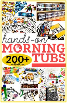 200 morning tubs activities and ideas.love the idea of using morning tubs instead of morning worksheets Morning Activities, Work Activities, Classroom Activities, Classroom Organization, Classroom Ideas, Gross Motor Activities, Classroom Management, Preschool Activities, First Grade Classroom