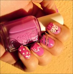 Ivana Thinks Pink: Dots, Heart, Stripes & Cupcake Nail Art