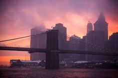Brooklyn Bridge at Sunset, During Snowstorm