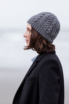 """Burnaby,"" by Jared Flood, knit with Brooklyn Tweed Quarry. Knit Crochet, Crochet Hats, Brooklyn Tweed, Cable Knit Hat, Warm Outfits, Knitting Accessories, Hats For Women, Knitted Hats, Knitting Patterns"