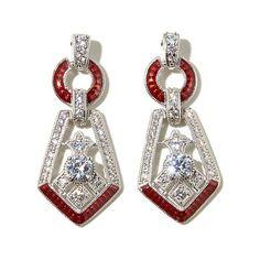 Xavier 1.71ct Absolute™ & Red Enamel Deco Earrings