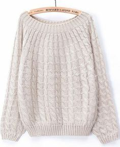Beige Long Sleeve Loose Cable Knit Sweater pictures