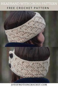 Crochet Headband With Cross Pattern – Free Crochet Pattern Crochet Hat For Women, Crochet Kids Hats, Crochet Headband Free, Free Crochet, Quick Crochet Patterns, Crochet Ideas, Crochet Projects, Scrap Yarn Crochet, Man Women