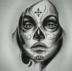 ideas for mexican art tattoo la catrina, Sugar Skull Girl Tattoo, Girl Face Tattoo, Sugar Skull Art, Girl Tattoos, Sugar Skulls, Chicano Tattoos, Body Art Tattoos, Hand Tattoos, Tribal Tattoos