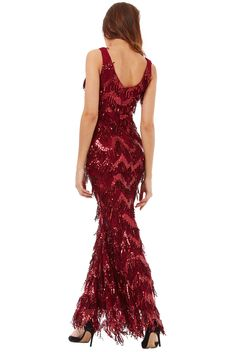 Fringed evening dress uk