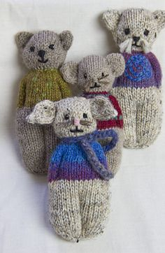 Ravelry: Animal Comfort Dolls pattern by P. Olson (I purchased this pattern. Knitting For Charity, Knitting For Kids, Loom Knitting, Knitting Projects, Animal Knitting Patterns, Doll Patterns, Knitted Dolls, Crochet Dolls, Knitted Teddy Bear