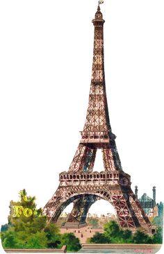 Paris Eiffel Tower Image Victorian Scrap Cut Out by foliegraphique