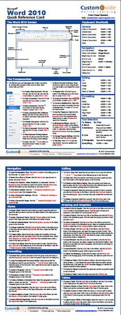 Free Word 2010 Cheat Sheet http://www.customguide.com/cheat_sheets/word-2010-cheat-sheet.pdf