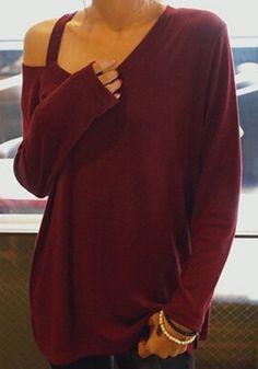 Red Plain Asymmetric Shoulder Irregular Long Sleeve Loose Casual Cotton T-Shirt For Women - T-Shirts - Tops