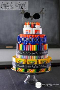 Back to school supply cake teacher gifts & school diy school School Supplies Cake, Teacher Supplies, Back To School Supplies, Teacher Supply Cake, Art Supplies, Back To School Party, Back To School Teacher, Middle School, High School