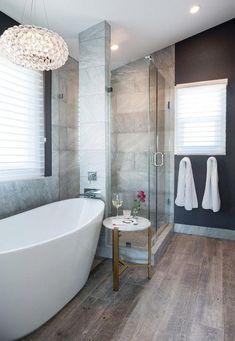 Bathroom Renos, Bathroom Interior, Master Bathroom, Bathroom Ideas, Shower Bathroom, Shower Floor, Bath Ideas, Master Tub, 1950s Bathroom