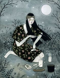 conjure up your true love by moonlight. originally commissioned by lone wolf magazine    digital print (of a watercolor original) on