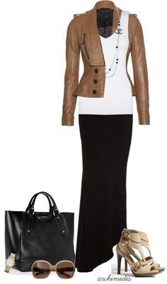 """""""Lotsa Burberry"""" by archimedes16 on Polyvore - rue21 jacket, white tank, multi strand necklace with the flower, long black skirt or black ponte pants"""