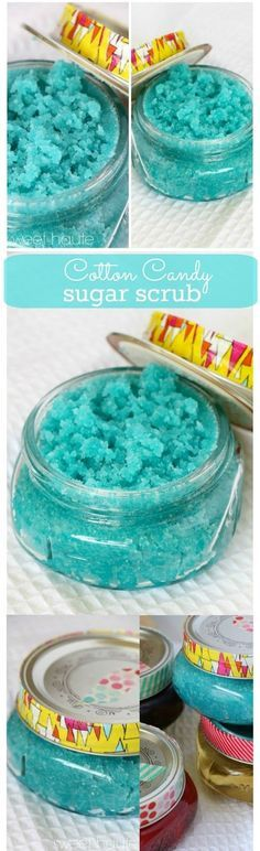 Berry Blue Cotton Candy Sugar Scrub DIY Beauty Skin Care Treatment tutorial recipe- SWEET HAUTE Pin now...make later!