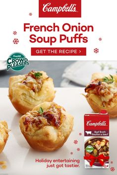 Campbell's® Ready to Use Beef Broth contains only quality ingredients and natural flavors. It is seasoned to perfection to add a rich flavour to your holiday recipes. Tap the Pin to see the trend. Dinner Party Appetizers, Appetizer Recipes, Puff Recipe, Savory Snacks, Finger Foods, Holiday Recipes, Food And Drink, Cooking Recipes, Salads