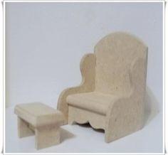 poltrona de amamentação c/apoio p/os pés miniaturas em mdf mdf,cola,lixa corte e colagem